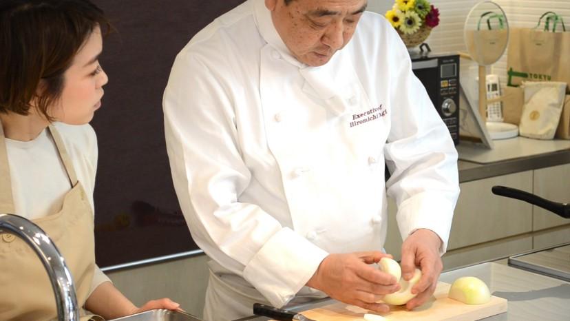 ムッシュ高木の料理の基本:玉ねぎの串切り